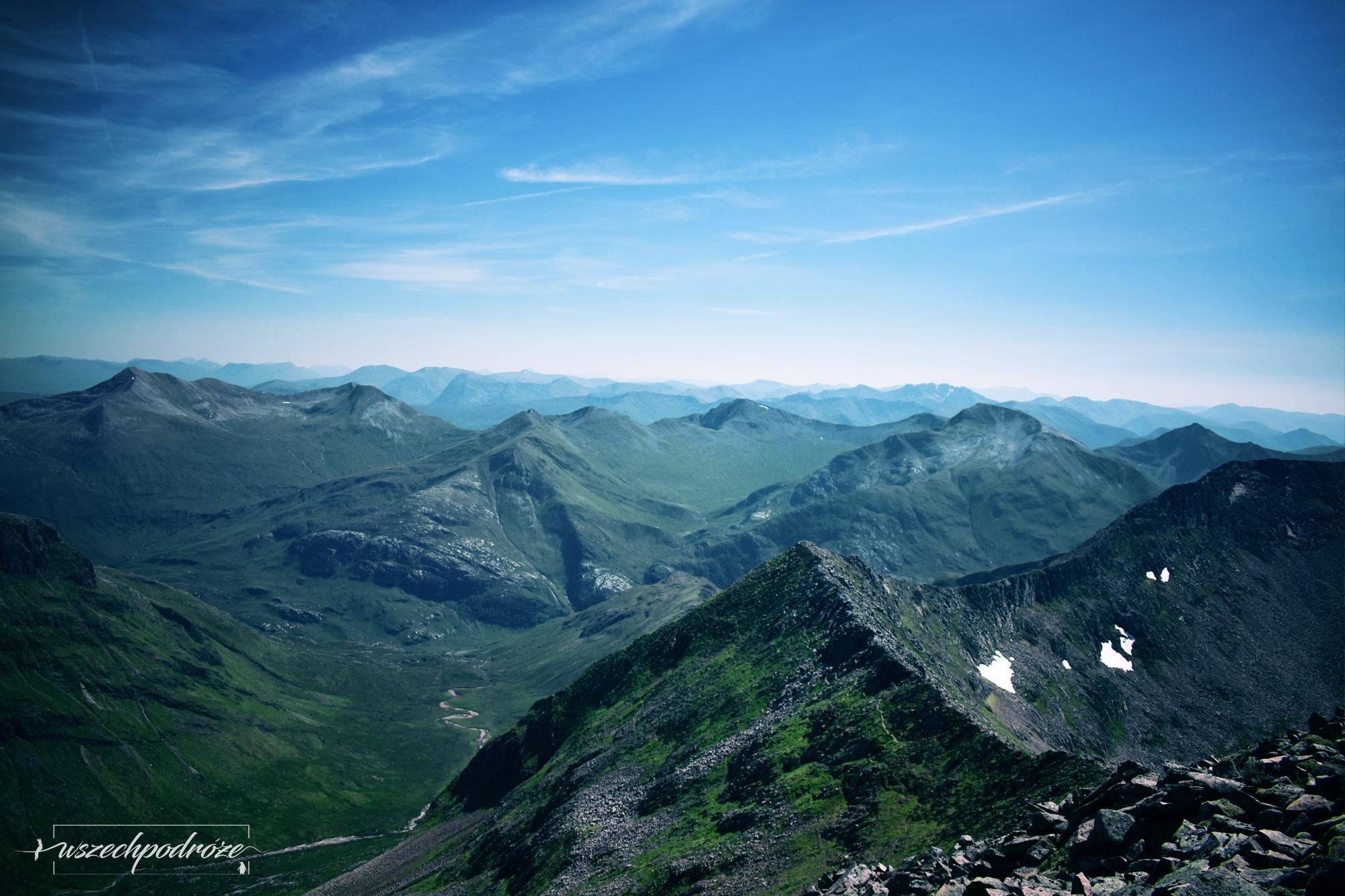 Ben Nevis alternatywna trasa widok na szczyty
